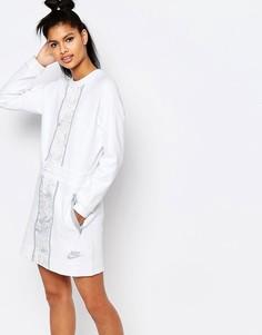 Платье с длинными рукавами и принтом Nike Luxury - Бежевый