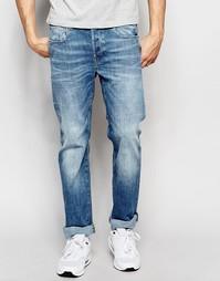 Прямые потертые джинсы с карманами на молнии сзади G-Star Attacc