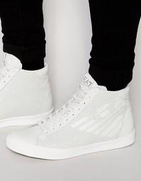 Высокие кроссовки с перфорацией и логотипом EA7 - Белый