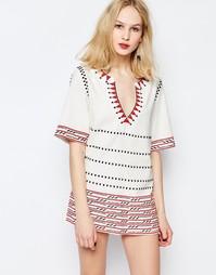 Платье-туника с вышивкой Piper Butuan - Белый