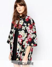 Пальто с рукавами-кимоно с принтом в виде вышивки Helene Berman