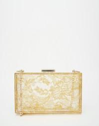 Клатч с кружевной отделкой Love Moschino - Золотой