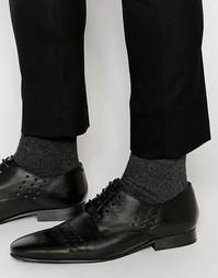 Черные кожаные туфли дерби с вырезами ASOS - Черный