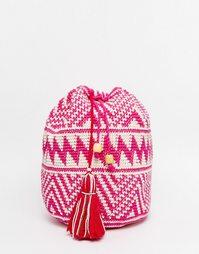 Рюкзак в стиле кроше с кисточкой и бусинами Hiptipico - Розовый