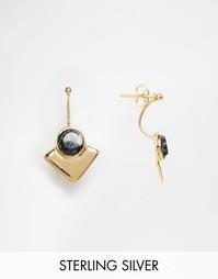Серьги из позолоченного серебра с черными камнями ASOS - Черный
