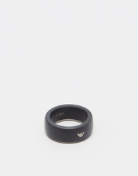 Черное кольцо с логотипом Emporio Armani - Черный