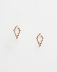 Серьги-гвоздики cо стразами Orelia - Розовое золото