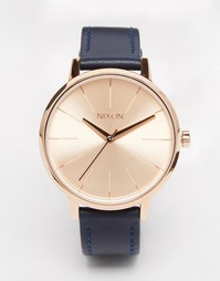 Часы с темно-синим кожаным ремешком Nixon Kensington - Темно-синий
