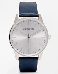 Часы с серебристым циферблатом и темно-синим кожаным ремешком Unknown