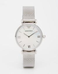 Серебристые часы с сетчатым ремешком Emporio Armani Gianni