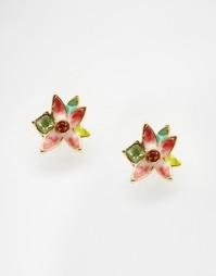 Серьги-гвоздики с цветами Bill Skinner - Мульти