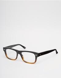 Квадратные очки в черепаховой оправе с прозрачными линзами Gucci