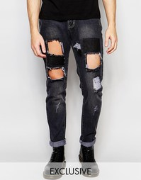 Черные выбеленные прямые джинсы с нашивками Liquor & Poker
