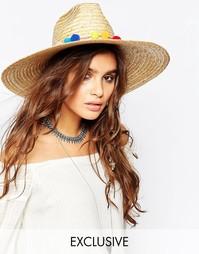 Соломенная шляпа с широкими полями и помпонами Catarzi - Естественный