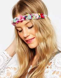 Повязка на голову с цветами и пайетками ASOS Confetti - Мульти