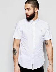 Рубашка зауженного кроя в фактурный горошек с короткими рукавами Farah