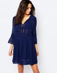 Синее платье с присборенной юбкой BA&SH Colette - Голубой Ba&;Sh