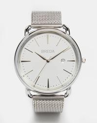 Серебристые часы из нержавеющей стали с сетчатым ремешком Breda Linx
