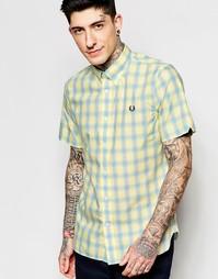 Рубашка слим с короткими рукавами и принтом тартан Fred Perry
