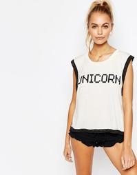 Пижамный топ Wildfox Unicorn - Белый
