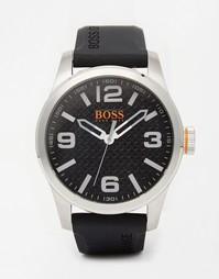 Часы с черным силиконовым ремешком BOSS Orange Paris - Черный