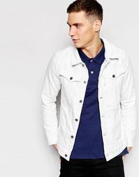 Белая состаренная джинсовая куртка слим G-Star 3301 3D