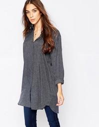 Свободная рубашка с принтом MiH - Синий принт