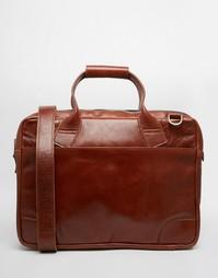 Коричневая кожаная сумка-сэтчел на молнии Royal RepubliQ Nano