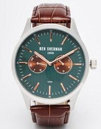 Часы c кожаным ремешком Ben Sherman - Коричневый