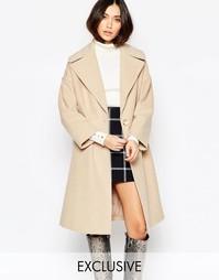 Серо-коричневое пальто с oversize-воротником Helene Berman - Кэмел