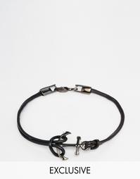 Кожаный браслет c якорем Simon Carter - Черный
