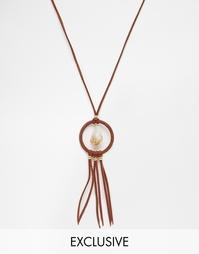 Замшевое ожерелье с камнем Reclaimed Vintage - Коричневый
