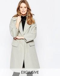 Серое пальто с большим воротником Helene Berman - Светло-серый