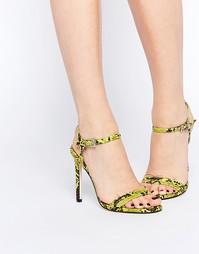 Босоножки на каблуке ASOS HAPHAZARD - Chartreuse snake