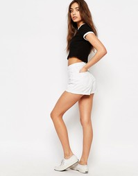 Джинсовые шорты с высокой талией и отворотами Rollas Duster - Белый