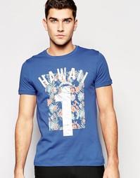 Синяя футболка классического кроя с принтом Boss Orange Hawaii 1
