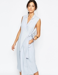 Небесно-голубое платье-тренч без рукавов C/meo Collective Silk Love St