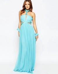 Платье-халтер макси Forever Unique Aliyah - Нежный бирюзовый