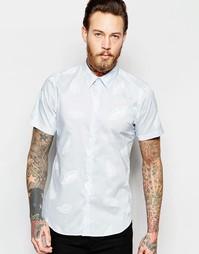 Рубашка слим с короткими рукавами и принтом в виде листиков PS Paul Sm