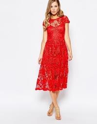 Кружевное платье миди алого цвета Body Frock Poppy - Scarlet