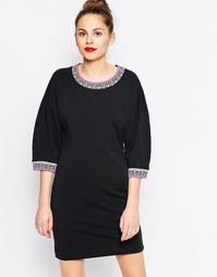 Платье-свитшот с неоновой отделкой Love Moschino - Черный