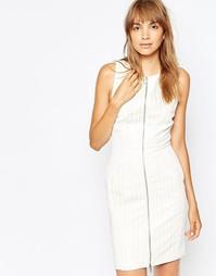 Платье с лазерной отделкой на молнии спереди Suboo - Белый