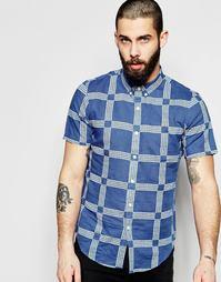 Приталенная рубашка в клетку с короткими рукавами Farah - Синий
