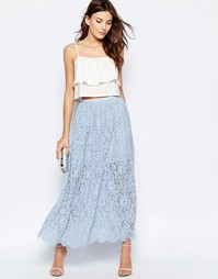 Голубая кружевная юбка макси Keepsake Stand Still - Небесно-голубой