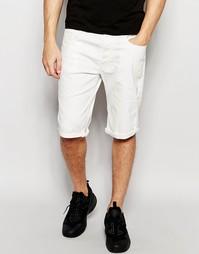 Белы суженные книзу джинсовые шорты стретч G-Star 3301 3D - 3d raw