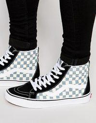 Черные кроссовки с шахматным узором Vans Sk8-Hi V3CAIB7 - Черный