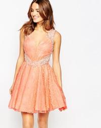 Кружевное короткое приталенное платье с отделкой Forever Unique Veroni