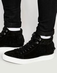 Замшевые высокие кроссовки с бахромой Walk London - Черный