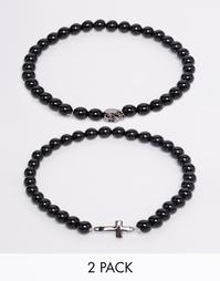 Набор из 2 браслетов с крестом из оникса Simon Carter - Черный