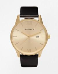 Часы с черным кожаным ремешком и золотистым циферблатом UNKNOWN